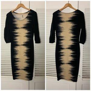 Bar III Faded black cream design secretary dress